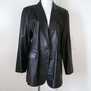 Apostrophe black leather jacket blazer size 14